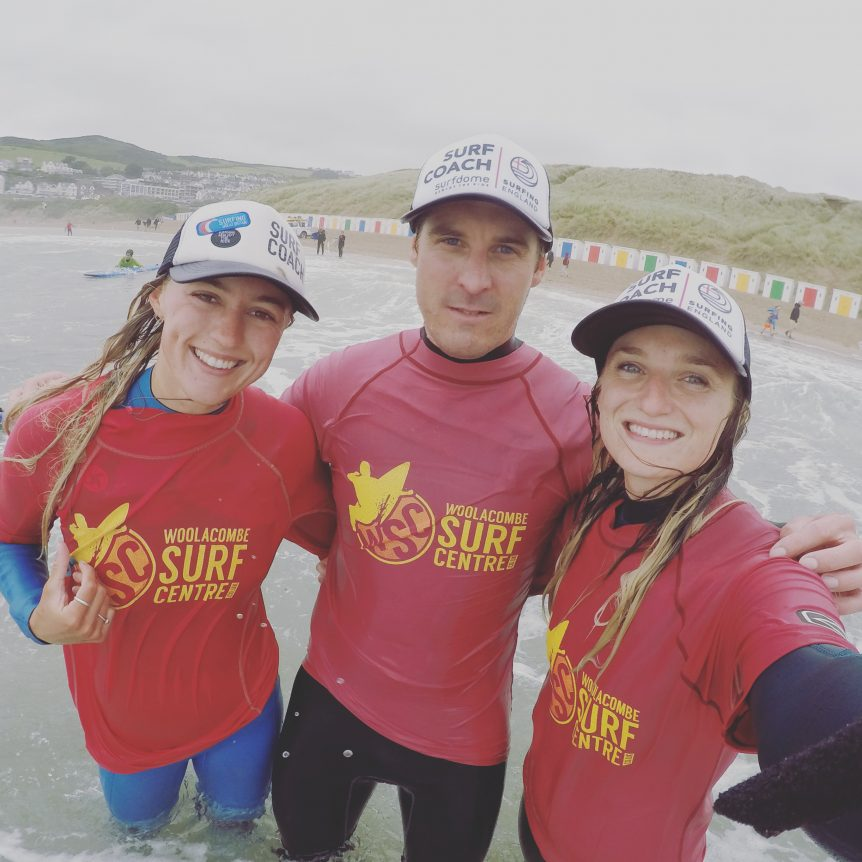 Surf coaches teaching surfing at Woolacombe near Croyde, Saunton, Putsborough, surf lesson specialists