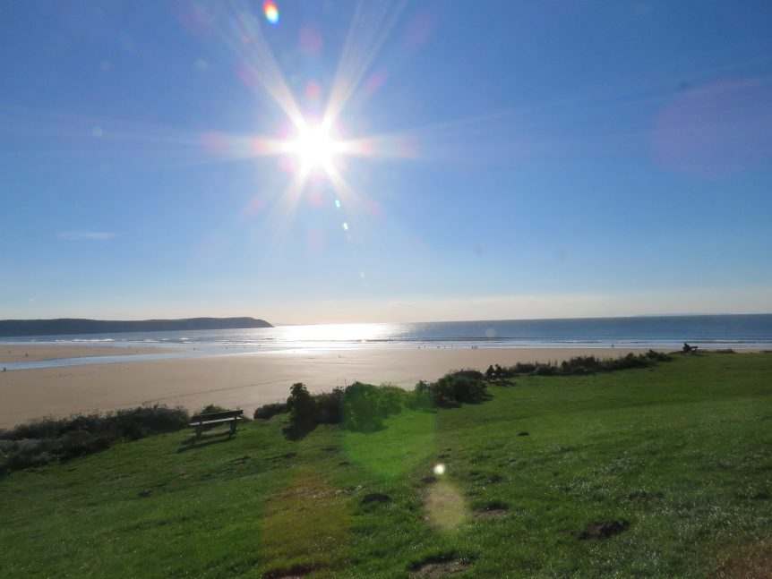 Beautiful safe beach for surf lessons, Woolacombe Surf Centre, sunshine, sea, sand and surf