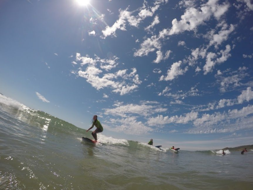 Progression with surfing with Woolacombe Surf Centre, at the ever beautiful Woolacombe Beach in the summer sunshine