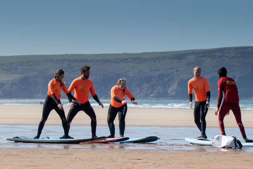 Beach lesson, surfing theory, learn to surf with Woolacombe Surf Centre, Near Croyde, Saunton and Putsborough, best beach, best surf school