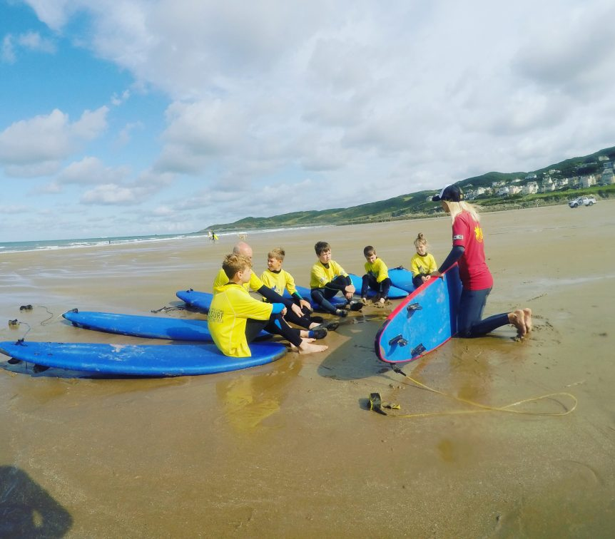 Beach theory surf lesson at Woolacombe Surf Centre, learning the basics and safety of surfing fundamentals