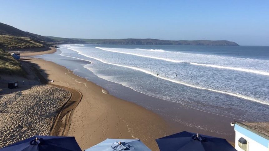 High tide in Woolacombe, summertime, sun sea sand surf, Woolacombe Surf Centre