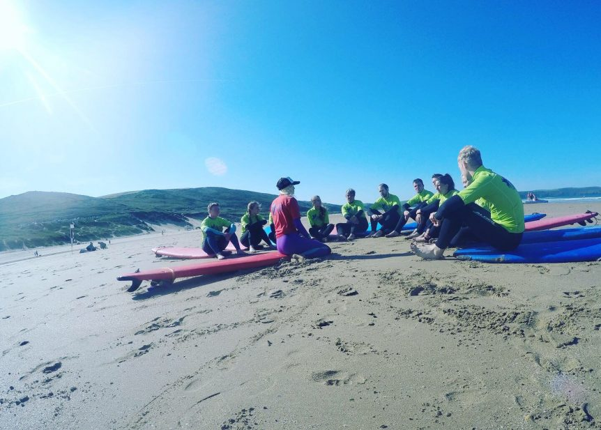Surf lesson on Woolacombe Beach near Croyde and Saunton best surf school Woolacombe Surf Centre