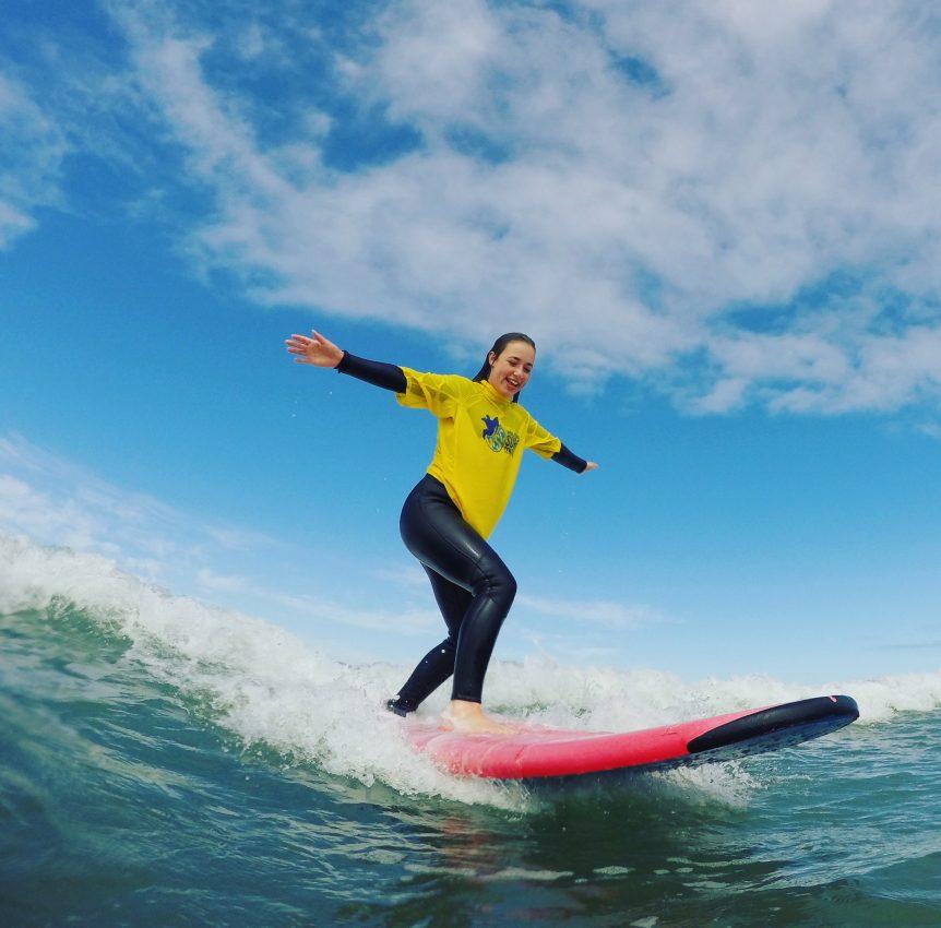 surf lesson fun with Woolacombe Surf Centre, Woolacombe best surf school, North Devon, Croyde, Saunton, Putsborough beach, Braunton learn to surf here