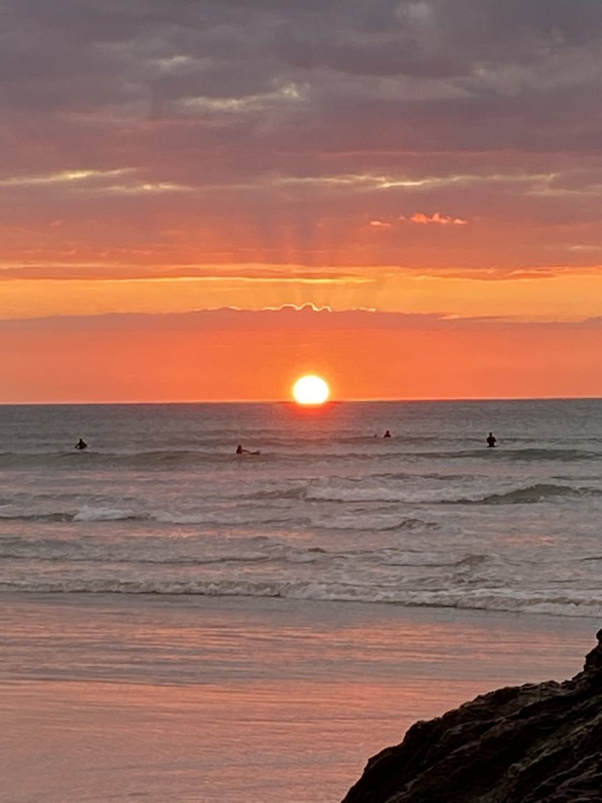 Sunset surfers Woolacombe staycation, surfers, learn to surf, Hunter of waves